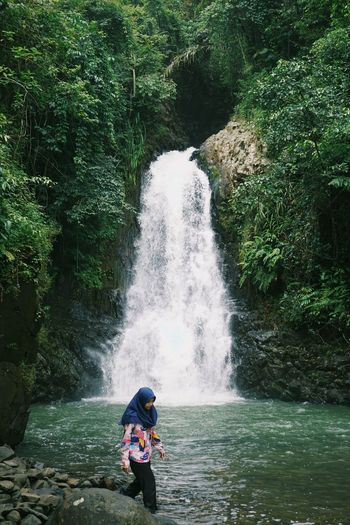 Woman exploring in river amidst trees in forest