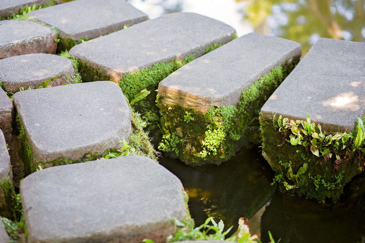 High angle view of stones in cemetery