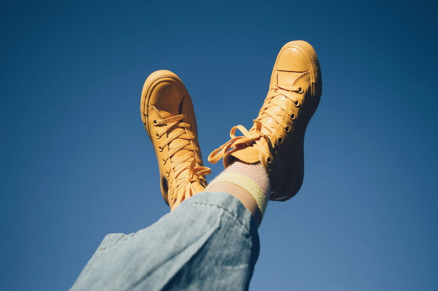 Paint The Town Yellow Yellow Crazy Socks  Fashion Shoes Vscocam Up And Up Sky All Stars The Week On EyeEm Fresh On Eyeem  Mom Jeans Low Angle View Day Sunlight Outdoors The Week on EyeEm Editor's Picks EyeEm Ready   Go Higher Visual Creativity #FREIHEITBERLIN