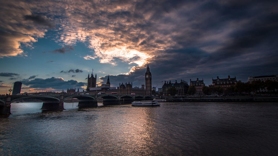 Panoramic view of city at riverbank