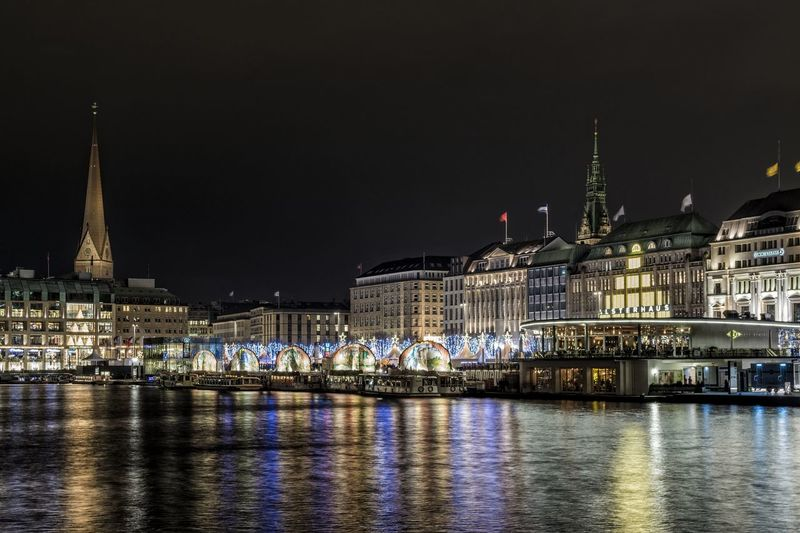 X-mas time Architecture Außenalster Building Exterior Christmas Market City Cityscape December Election Illuminated Night Night Photography No People Outdoors Politics And Government Sky Travel Destinations Water Wintertime