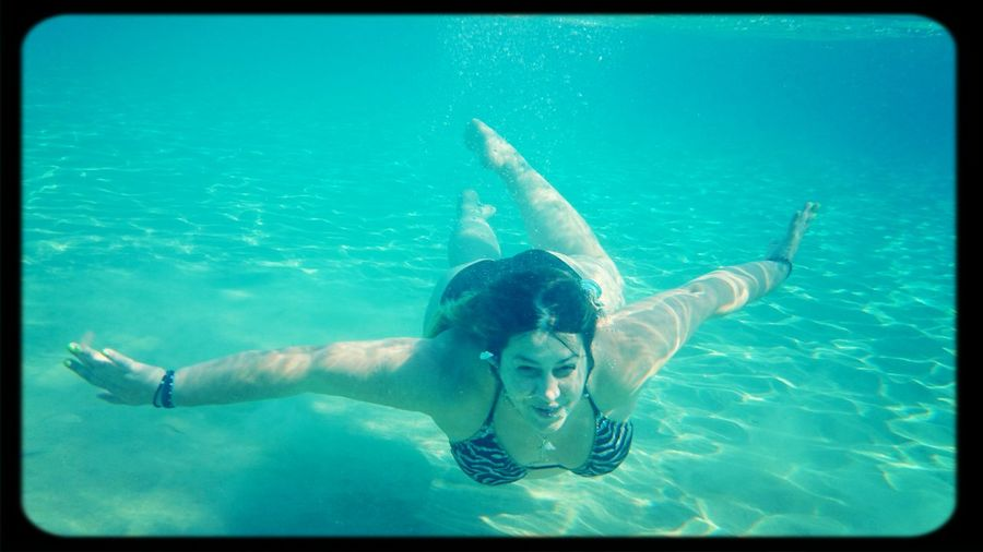 Deep blue Swimming Diving Blue Sea
