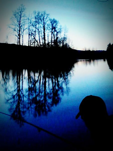 Reflection Silhouette Water Tree Bare Tree Lake Nature Sky No People Outdoors Day First Eyeem Photo Freshness Fishing Dusk On The River Bank  Blue First Eyeem Photo