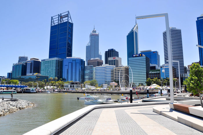 Artificial Elizabeth Quay inlet of the Swan River with boats, foreshore and Perth cityscape in Western Australia. Architecture Boats Bridge - Man Made Structure Building Exterior Business Finance And Industry City City Life Cityscape Clear Sky Downtown District Elizabeth Quay Foreshore Inlet Modern Sky Skyscraper Spanda Swan River Transportation Transportation Travel Destinations Urban Skyline Water Western Australia Yachts