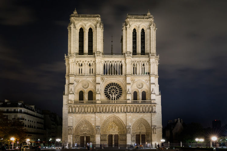 View of cathedral against sky at night