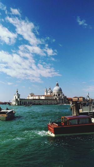 sunny day in venice 🌞 EyeEmNewHere EyeEm Selects #Adventure #sea Seascape Profondità Urbanphotography Whatitalyis Venice Venezia Italia Cathedral Water Nautical Vessel Tall Ship City Sea Harbor Sailing Blue Cityscape Ship