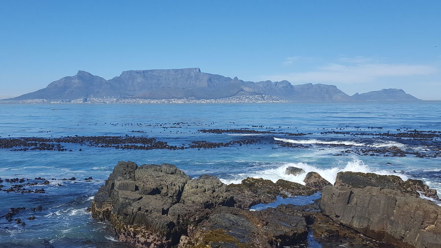 table mountain, seen from Robben Island #southafrica #robbenisland #capetown #Table Mountain Water Sea Mountain Beach Wave Blue Rock - Object Sky Horizon Over Water First Eyeem Photo