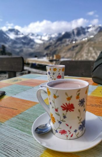 Hiking Südtirol Adventure Alps Close-up Cocoa Coffee - Drink Coffee Cup Cold Temperature Cup Day Drink Food And Drink Freshness Mountain Mountain Range Mountains Nature No People Outdoors Refreshment Saucer Snow Table Tea - Hot Drink