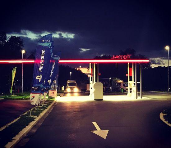 Illuminated Night Neon Road Transportation Fuel Pump Outdoors Sky No People Autobahn Motorway