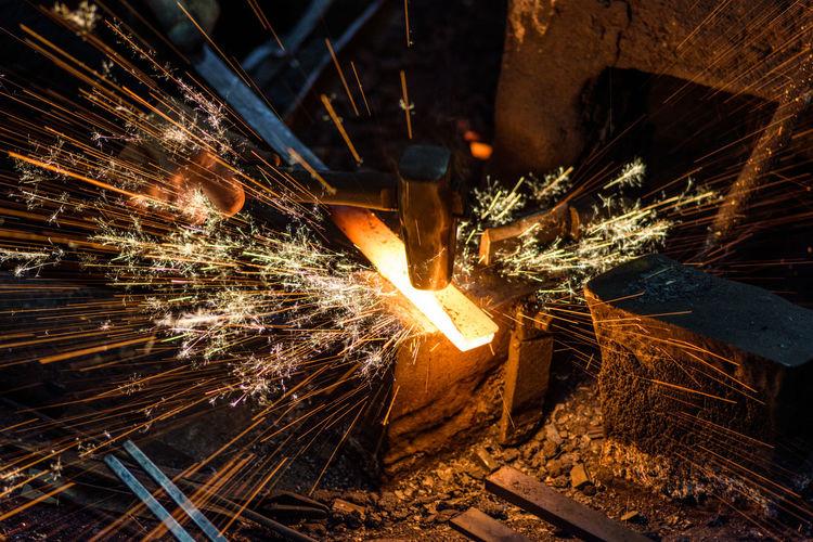 Close-up of molten metal at workshop