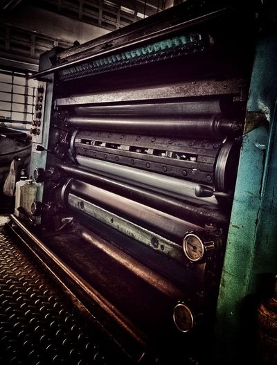 Machine Printing Press Roller Coil Black Color Blck And White Blackground Old Printing House Messy Inside The Factory Light And Shadow In Door Brown LINE In The Building Indoors  No People Close-up Day