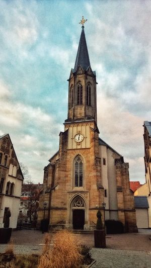 Church Sacral Architecture Architecture_collection Architecture Churches Germany🇩🇪 Pirna Clouds And Sky City Historical Building Street Building Mobile Photography No People Gotic Gotic Architecture Clock Church Tower