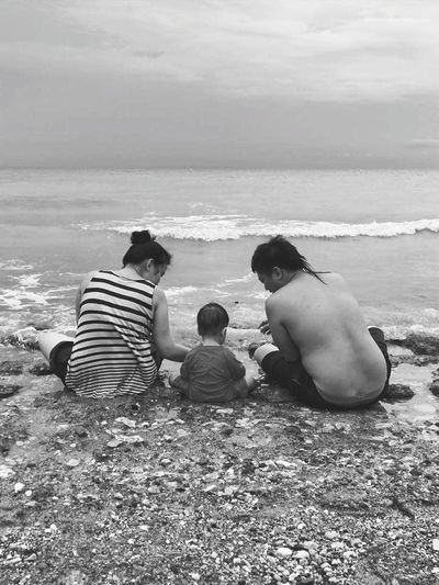 Togetherness Rear View Boys Adult Childhood People Outdoors Beach