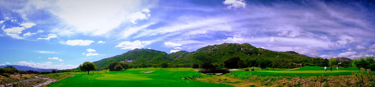 Golf course of Journey of Pechanga in Pechanga Casino. Cloud - Sky Cloudscape Field Golf Golf Course Grass Green Color Idyllic Journey In Pechanga Landscape Mountain Mountain Range Mountain View Non-urban Scene Panoramic Panoramic Photography Pechanga Scenics Sky Sky And Clouds Tranquil Scene Here Belongs To Me