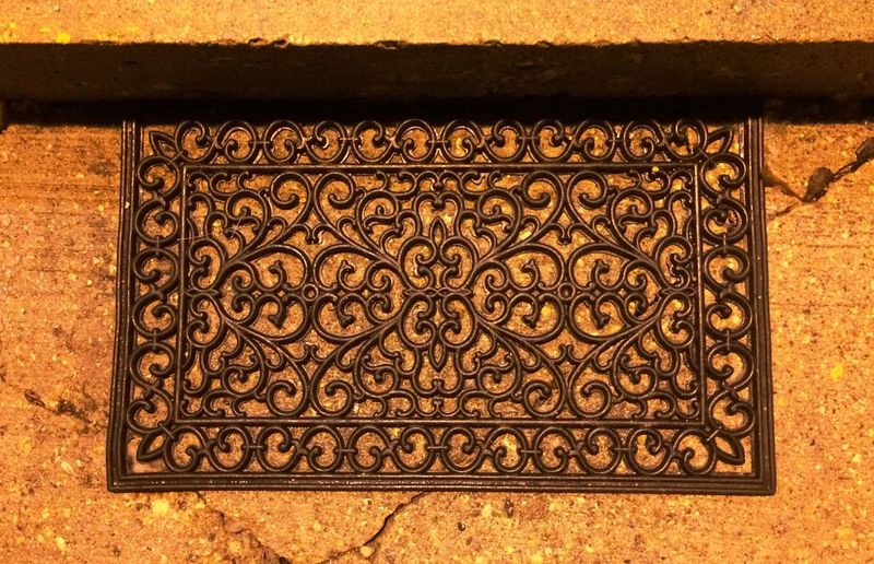 Pattern Pieces Umber Mustard Yellow Cacked Texture Floor Mat Filigree