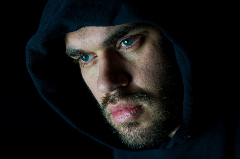 Adult Adults Only Beard Beautiful People Beauty Black Background Blue Eyes Close-up Hoodie Human Eye Human Face Male One Man Only One Person Only Men People Portrait Self Portrait Selfportrait Serious Serious Face Studio Shot Guy Dude