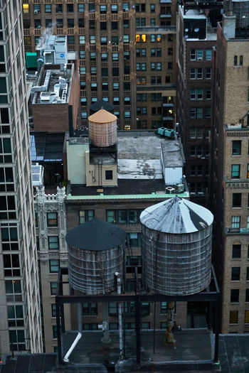 High angle view of buildings in city of manhattan new york