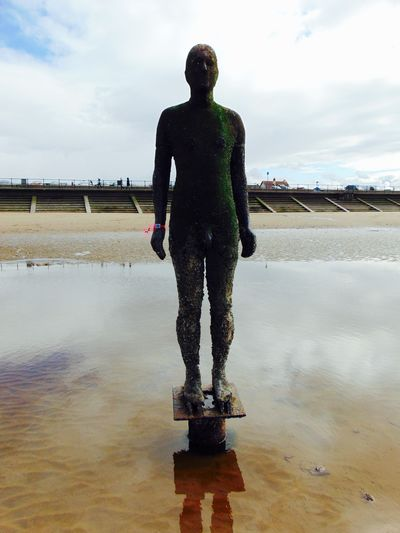 Art Beach Beach Day Beach Life Beach Photography Beach Time Beachphotography Cloud Cloud - Sky Cloudy Crosby Beach Day Full Length Human Representation Outdoors Rock Pool Sculpture Sky Standing Statue Water