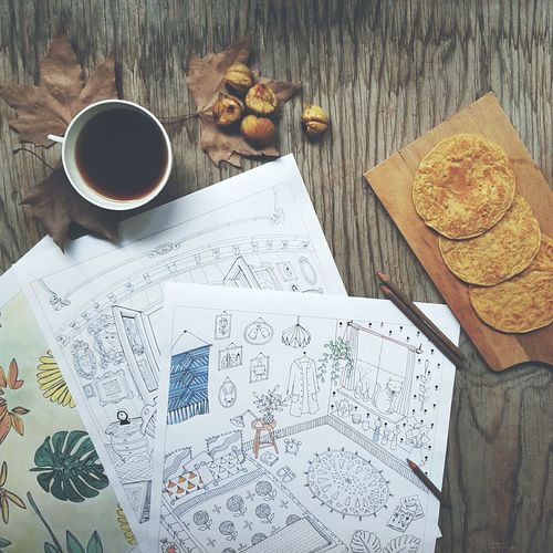 autumn. Things I Like Home Interior Art Therapy From My Point Of View View From Above On The Table Coloring Book Afternoon Tea Time
