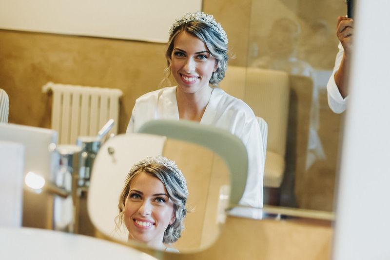 Portrait of bride at salon