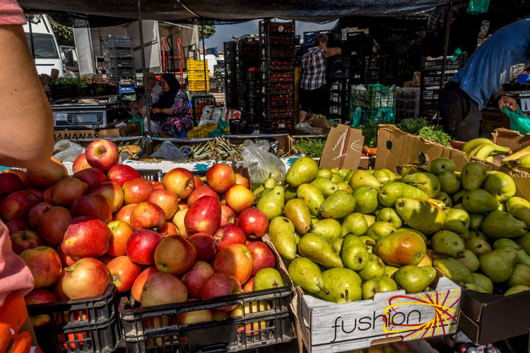 Fruit Market Food And Drink Retail  Healthy Eating Food Freshness Market Stall For Sale Business Crate Incidental People Real People Day Variation Container Sale Buying Street Market Retail Display Consumerism Roquetas De Mar Street Market SPAIN Almería