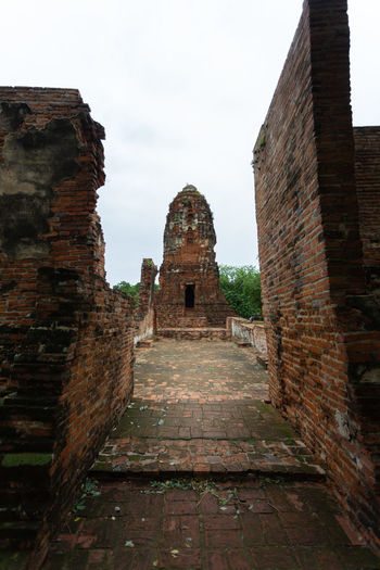 View of old ruins of building
