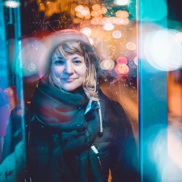 Real People Night One Person Front View Reflection Looking At Camera Lifestyles Multi Colored Portrait Outdoors Smiling Blond Hair The Portraitist - 2018 EyeEm Awards