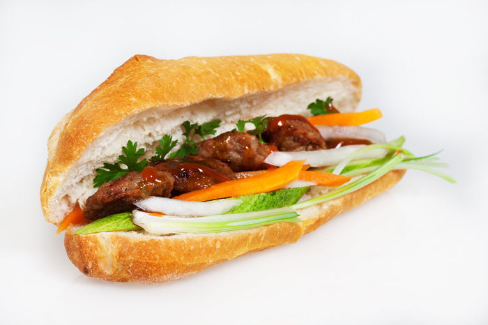 Close-up Cucumber Fast Food Food Food And Drink Foodphotography Gourmet Grilled Isolated Isolated White Background Leaf Vegetable Lettuce Meal Meat Pork Ready-to-eat Sandwich Sauce SLICE Studio Shot Vegetable Vietnamese Food White Background
