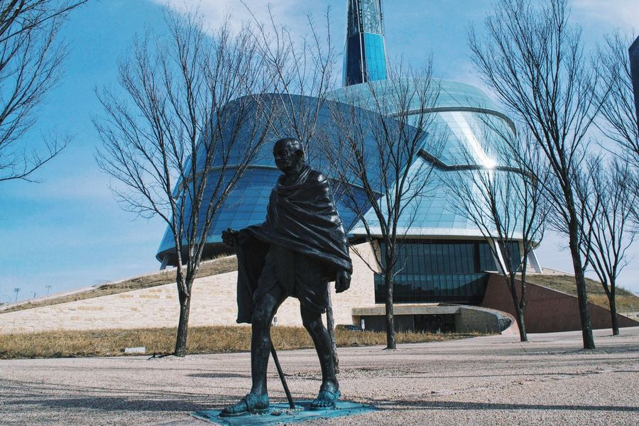 Canadian Human Rights Museum Canadian Museum Of Human Rights Mahatma Gandhi Statue Blue Sky Spring In The City Winnipeg Manitoba Canada Architecture CMHR The Architect - 2016 EyeEm Awards