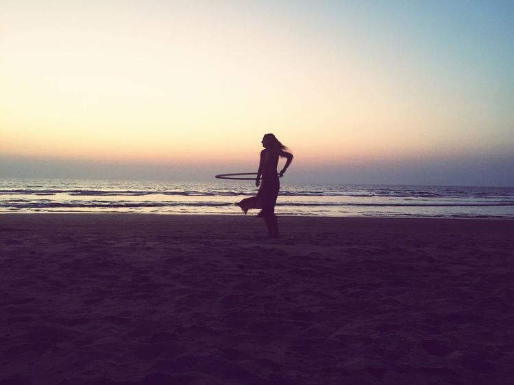 Sea Relaxing Yoga Meditation Beach Goa India Hulahoop Sunset