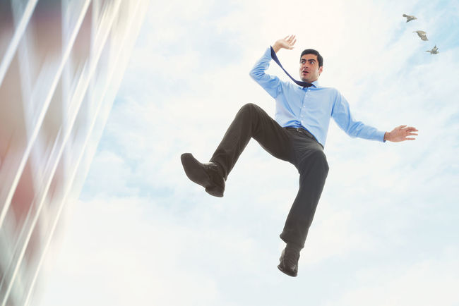 Crisis Adults Only Adversity Bankruptcy Businessman Caucasian Failure  Falling Full Length Jump Jumper Jumping Male Mid-air One Man Only One Person Outdoors White Collar