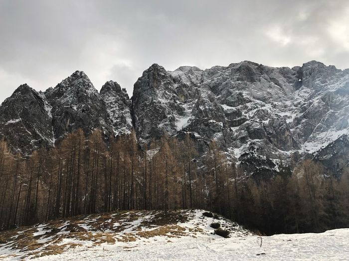 Vrsic pass in Julian Alps, Slovenia Travel Destinations Travel Landscape Picturesque Julian Alps Slovenian Alps Slovenia Snow Winter Cold Temperature Tree Plant Sky Nature Beauty In Nature Scenics - Nature Mountain Outdoors