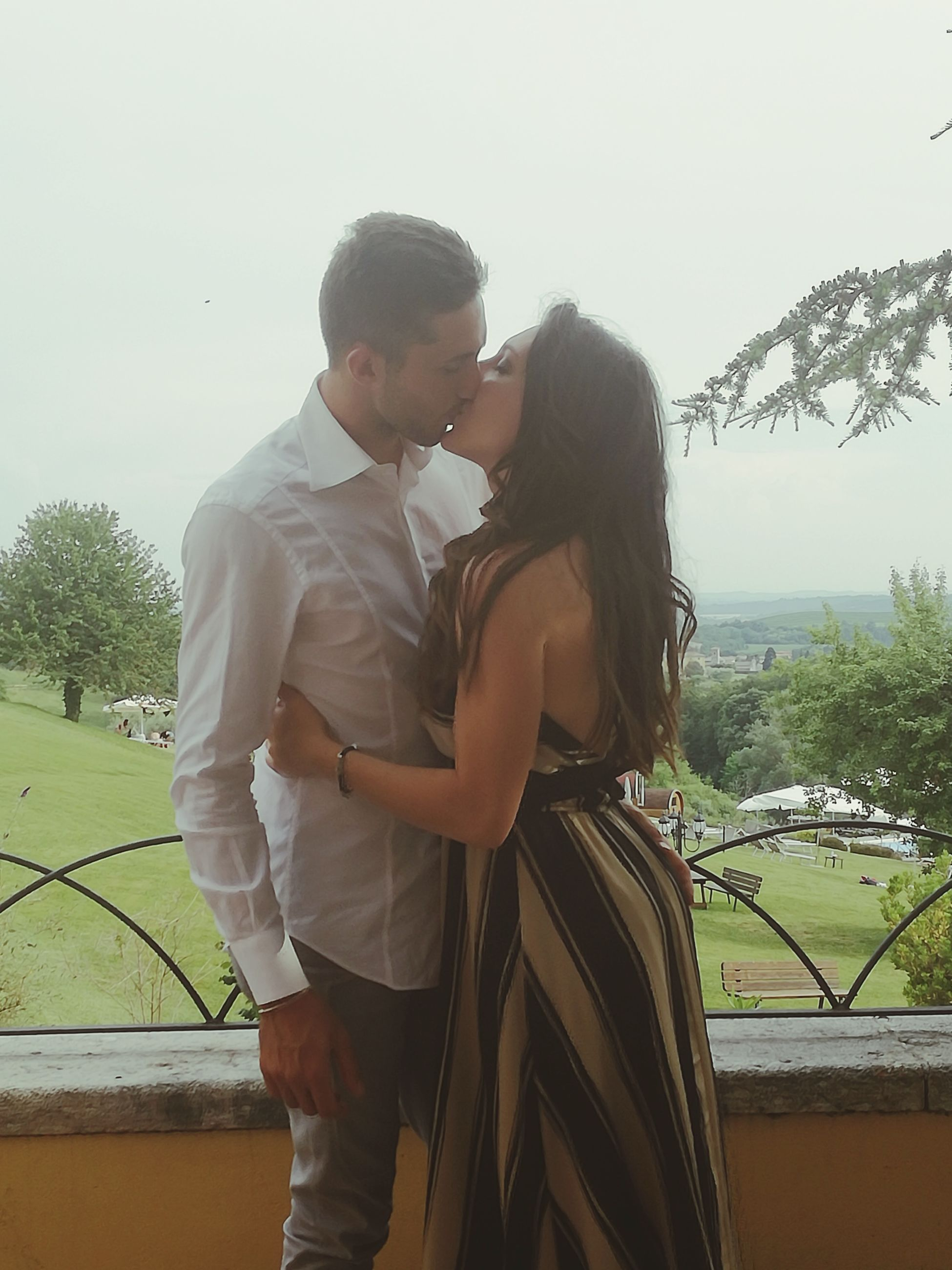 love, two people, standing, three quarter length, togetherness, young women, young adult, real people, young men, casual clothing, day, outdoors, side view, tree, lifestyles, couple - relationship, clear sky, bonding, sky, nature, bridegroom