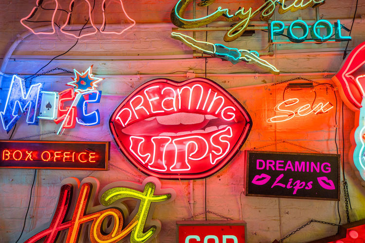 Neon signs and decorations at God's Own Junkyard in Walthamstow, London. Bright Colors Colourful Neon Signs City Lighting Communication Dreaming Lips Neon Neon Lights Urban Urban Lighting