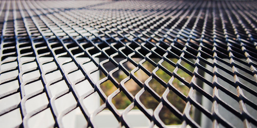 Black metal mesh floor Abstract Backgrounds Barrier Design Fence Industrial Iron Light And Shadow Mesh Metal Metallic Nature No People Outdoors Pattern Shape Steel Textured  Wallpaper Wire