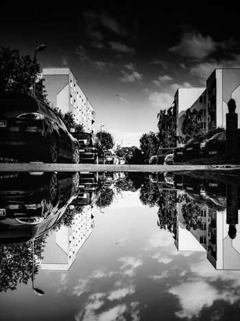 Reflection Water Sky Built Structure Architecture Building Exterior Cloud - Sky Outdoors Tree No People Waterfront Low Angle View Day Nature City Dzierżoniów