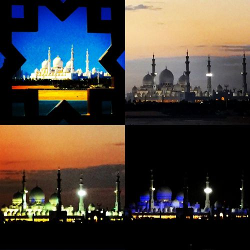 Sheikh Zayed Grand Mosque in Abu Dhabi at Night & Sunset Sheikh Zayed Grand Mosque Abudhabi Abu Dhabi Mosque Sheikh Sheikh Zayed 3rd Largest Mosque Dome Chandelier Carpet Hand Woven Carpet World Record  Prayer