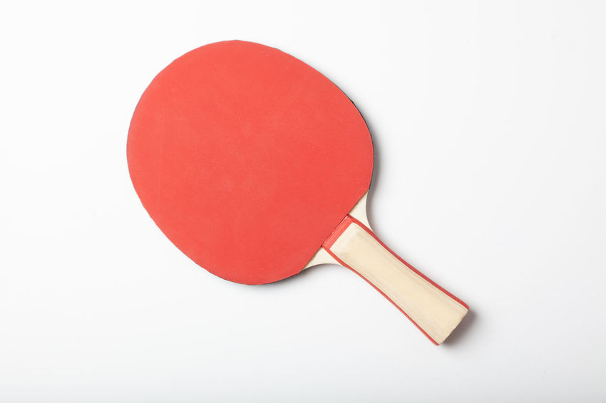 Studio Shot Table Tennis Red White Background Indoors  Still Life Sport Copy Space Cut Out No People High Angle View Bat Equipment