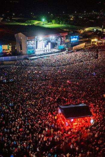 Full house at Deichkind. Concert Festival Crowd Deichbrand