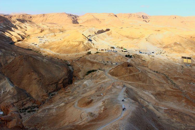 Desert Desert Beauty Desert Landscape Masada. Israel National Park Sand Dune Desert Arid Climate Sand 4x4 Off-road Vehicle Tire Track Landscape Sky Arid Landscape Eroded Rocky Mountains Canyon