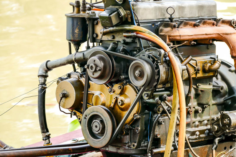 Close-up of engine outdoors