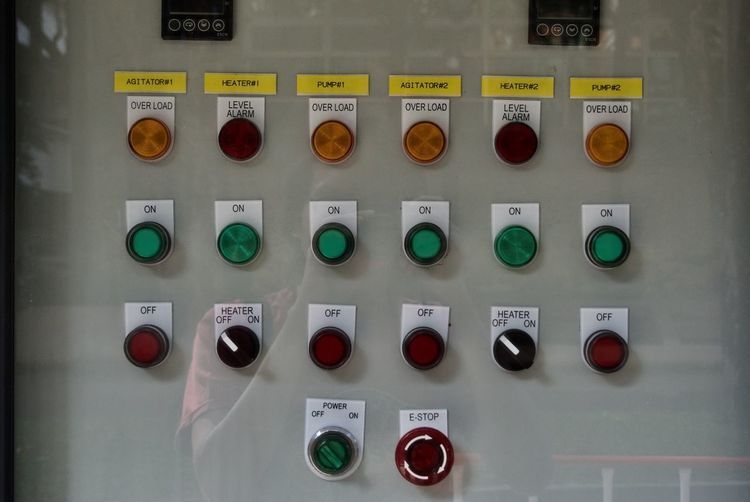 Close-up Control Control Panel Day Factory Indoors  Industrial Equipment Industry Machinery No People Occupational Safety And Health Power Station Push Button Switch Technology