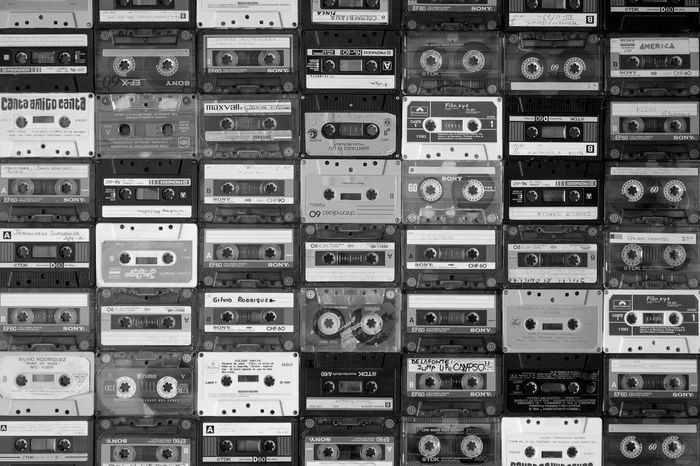 Music Abundance Arrangement Backgrounds Box - Container Cassette Cassette Tape Communication Day Full Frame In A Row Indoors  Large Group Of Objects No People Public Mailbox Stack Tape Tapes Vntage