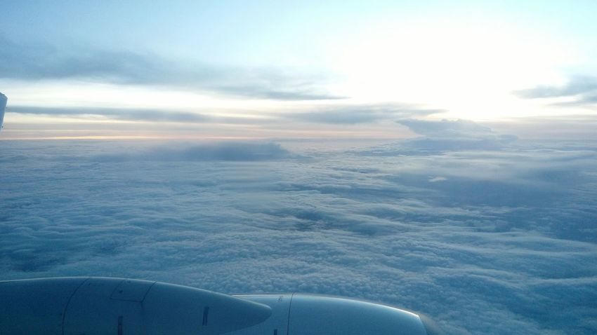 Sky Sunrise The View From An Airplane Clouds Aircraft Cloudy Colour Palette