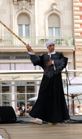 Members of Al Tannoura Folklore Troupe, Cairo, Egypt during the 50th International Folklore Festival in center of Zagreb, Croatia on July 20, 2016 Authentic Cairo Celebration Costume Croatia Culture Dance Egypt Entertainment Event Festival Folk Folklore Historical Music Participants Perform Show Style Traditional Zagreb