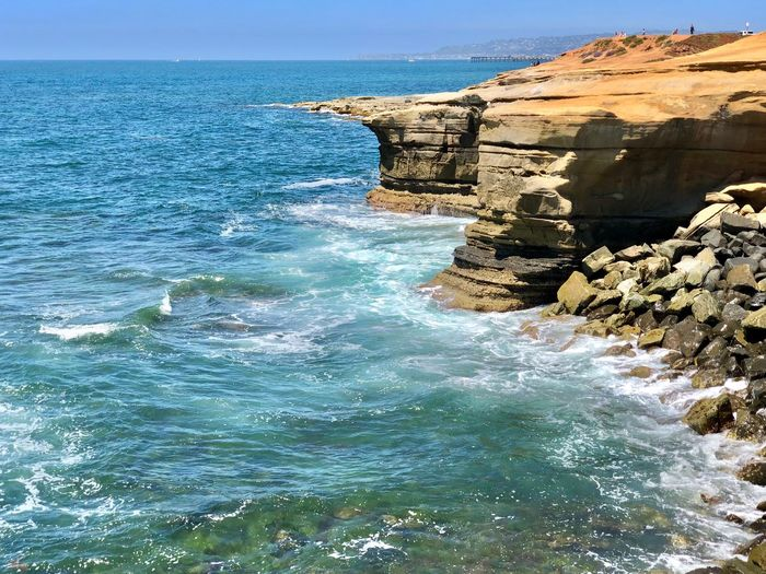 Sunset Cliffs Natural Park Water Sea Rock Beauty In Nature Rock - Object Scenics - Nature Solid Nature Tranquility Day Sunlight Horizon Over Water Outdoors Tranquil Scene No People Blue Land Rock Formation Sky Beach