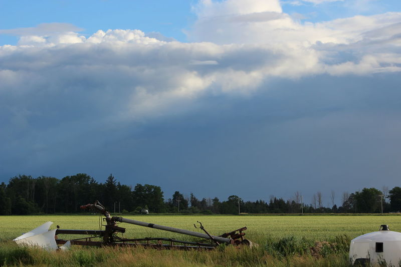 Broken Fence Clouds Daytime Field Grey Sky Landscape Storm Stormy Weather Stromy Sky