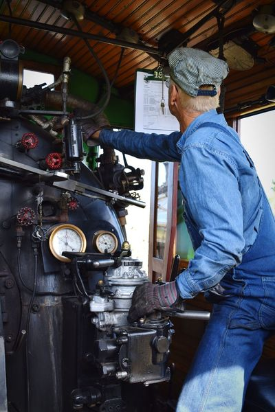 mr. engineer Train Train Engineer Old Man People Retired Denim Overalls Knobs And Dials Check This Out Gauges Steam Trains Steam Locomotive Travel Railroad