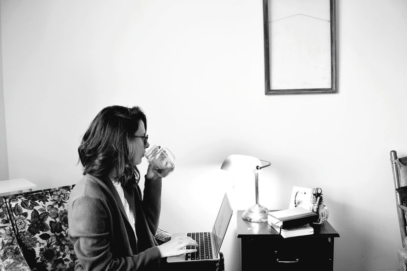Working Work From Home Desk Tea Drinking Morning Simple Minimal Black And White Portrait White WhiteCollection Freelance Life Freelancer Pretty Head And Shoulders Thoughtful Medium-length Hair Introspection Posing Pensive