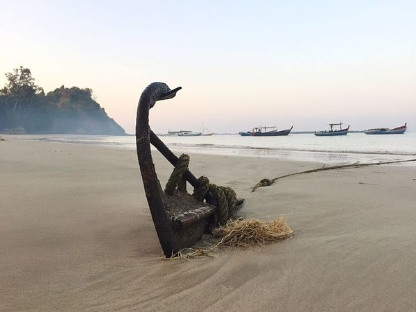 Myanmar Beach Anker Rope Boats Beachphotography Sea Sand Water Anchor